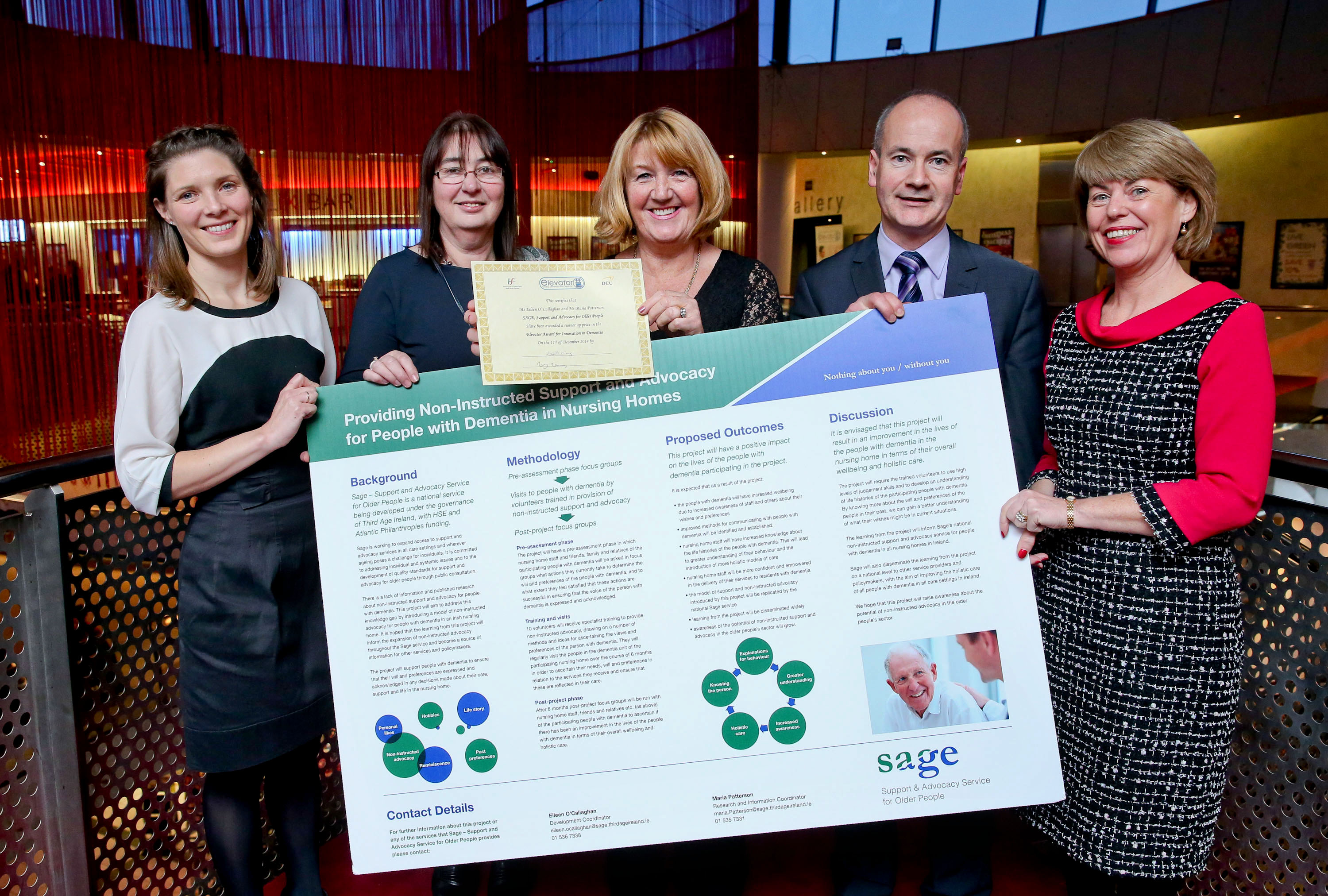 Runners up SAGE, Support and Advocacy for Older People L-R Dr Kate Irving, DCU,  Marion​ Connolly, Anne Harris, SAGE, John Linehan, HSE, Mary Manning, HSE